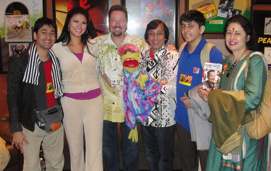 Ventriloquist Ramdas Padhye and his family with Terry Fator at Mirage Casino, Las Vegas