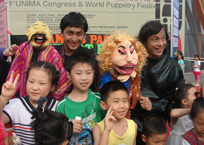 Ramdas, Aparna and Satyajit at World Puppetry Carnival in Chengdu China