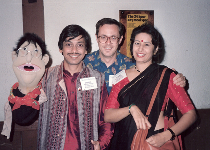 Ronn Lucas with Ventriloquist Ramdas Padhye and wife Aparna