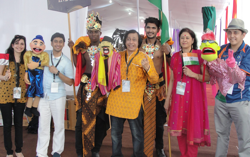 Ramdas Padhye and his family at World Puppetry Festival in Indonesia