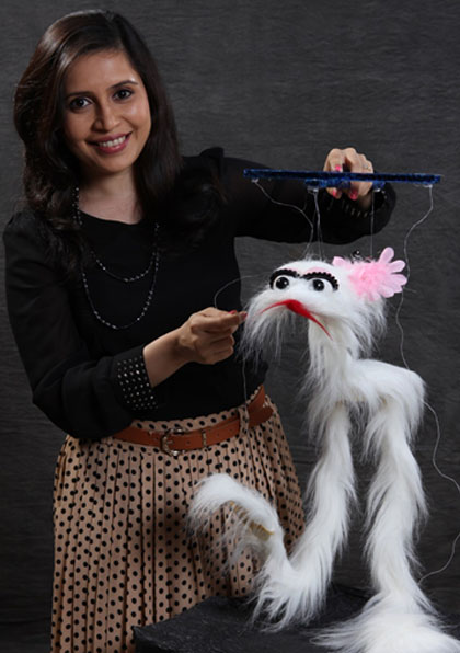 Ventriloquist Ramdas Padhye with his puppet Bunny the Rabbit from Lijjat Papad