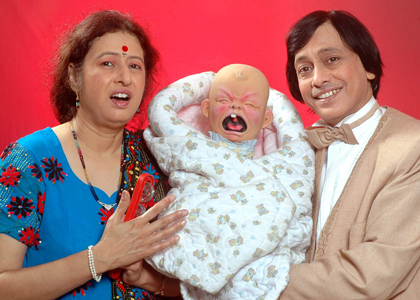 Ventriloquist and Puppeteer Ramdas Padhye with his wife Aparna Ramdas